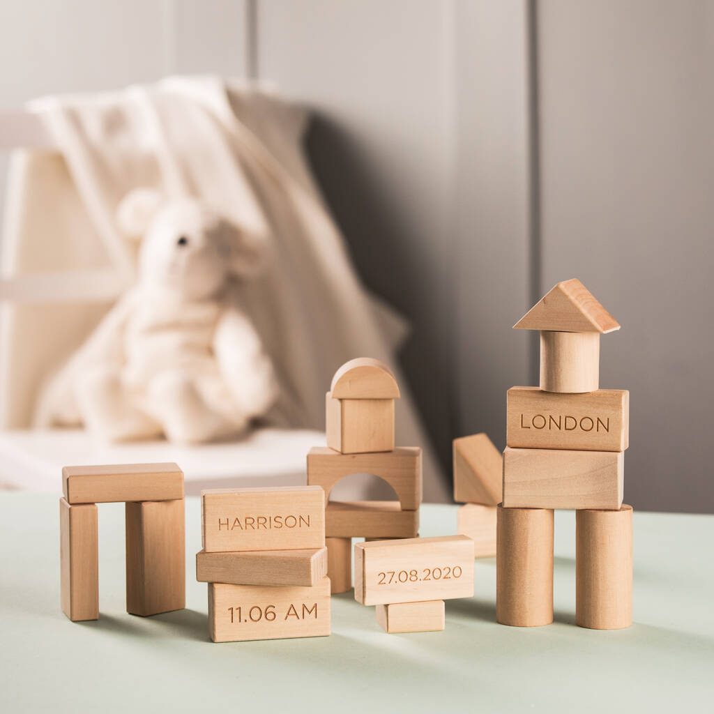 Personalised Baby Wooden Blocks