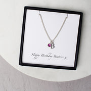 Personalised Swarovski Birthstone And Initial Necklace