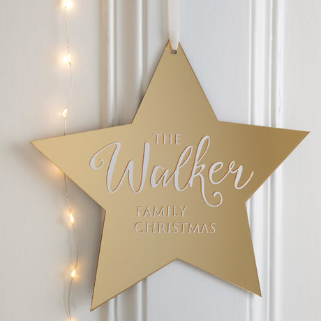 Personalised Metallic Family Star Wall Plaque