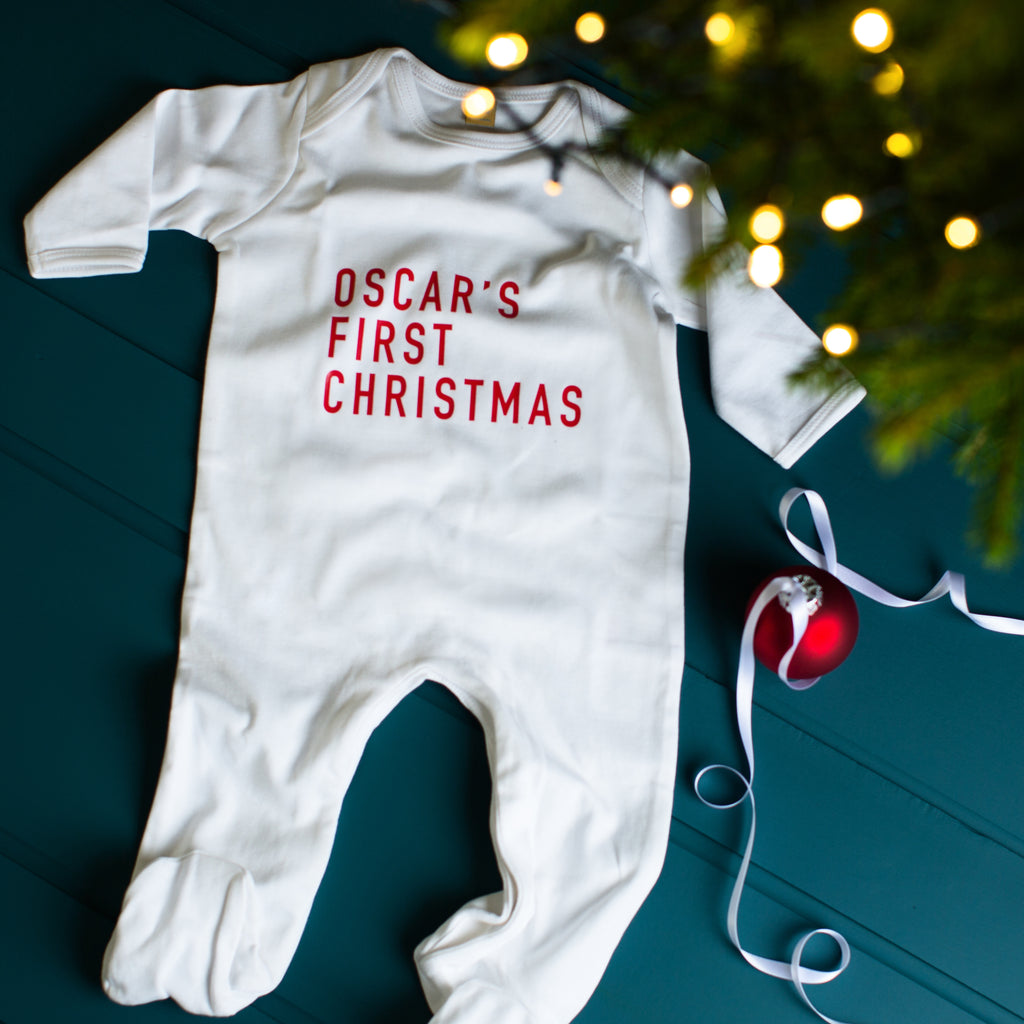 Personalised Baby's First Christmas Sleepsuit