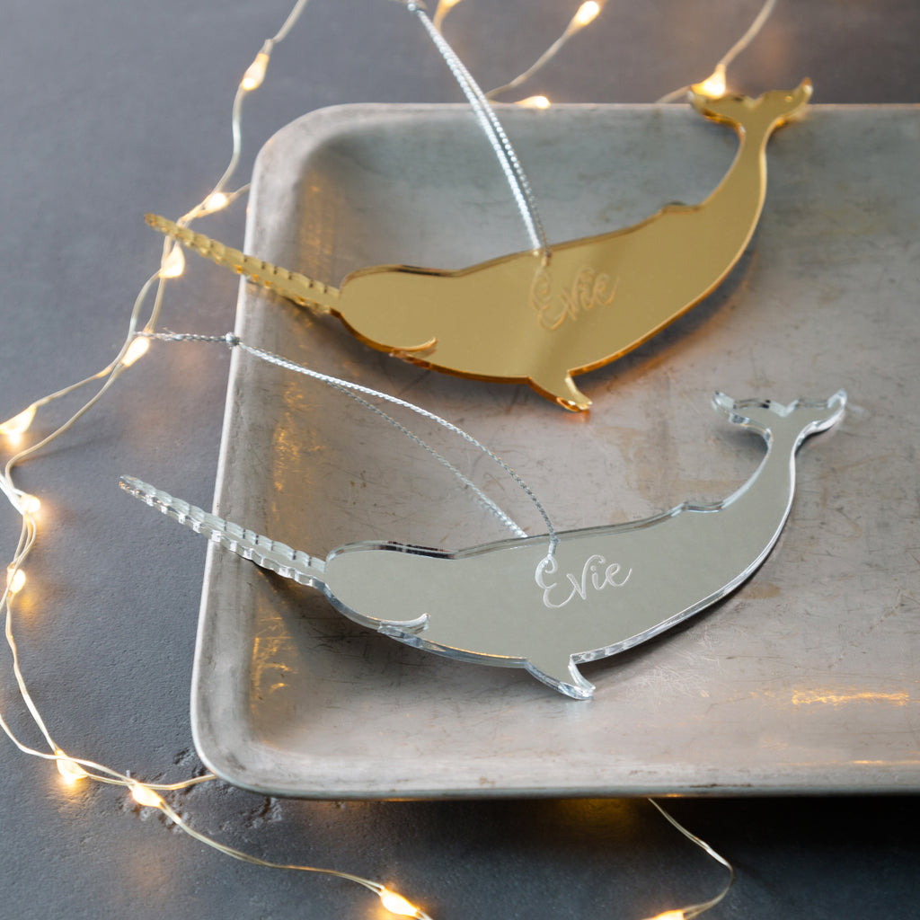 Personalised Mirrored Narwhal Christmas Decoration