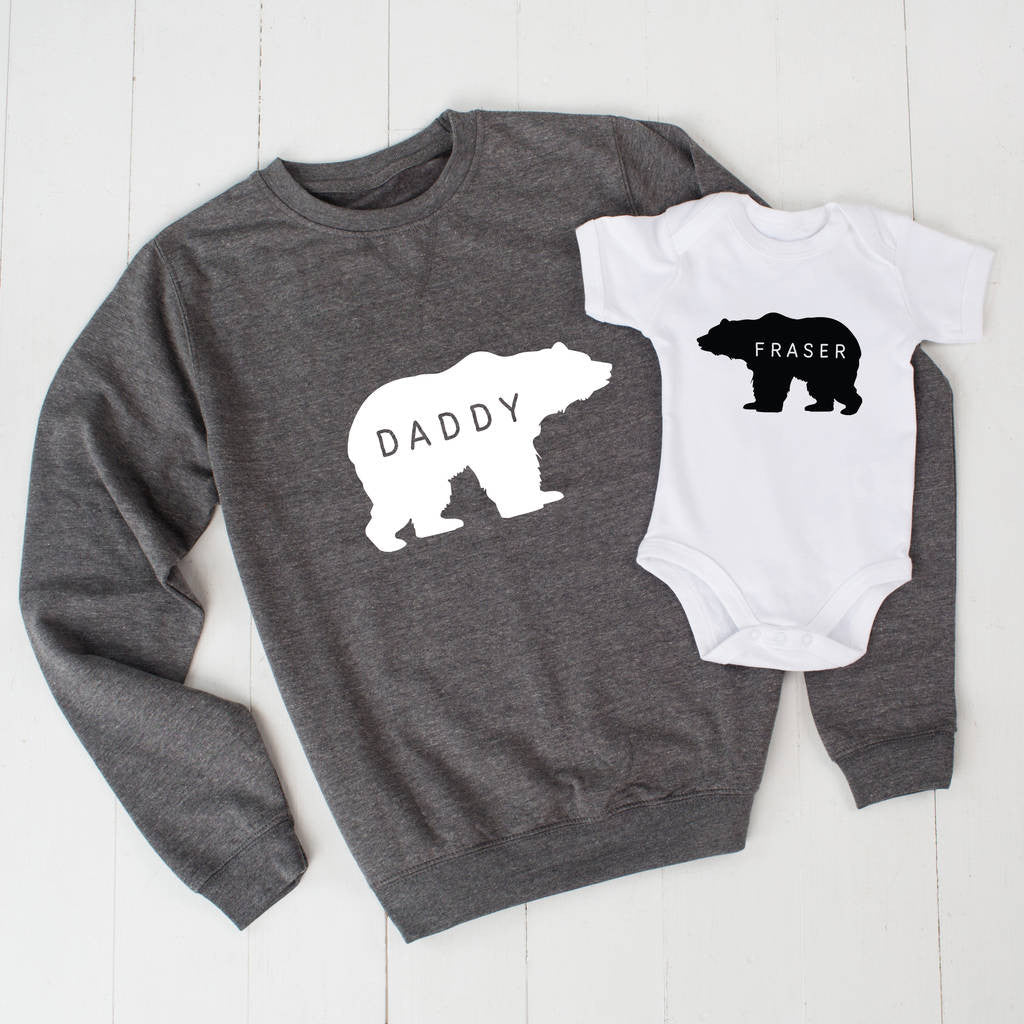 Grey Personalised Daddy Bear Jumper And Baby Grow Set