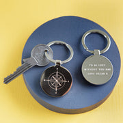 Personalised Father's Day Compass Keyring
