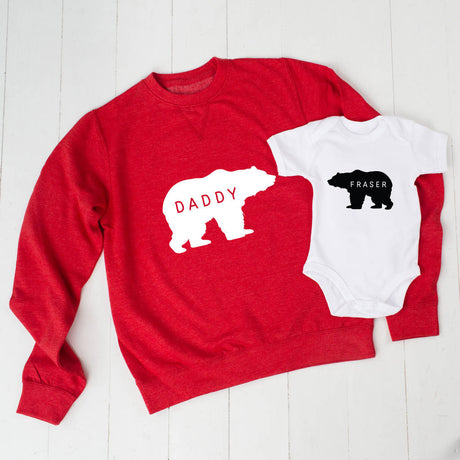 Red Personalised Daddy Bear Jumper And Baby Grow Set
