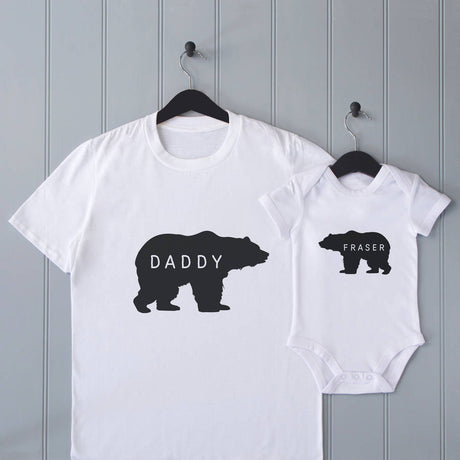 Personalised Father's Day Daddy Bear T Shirt Set