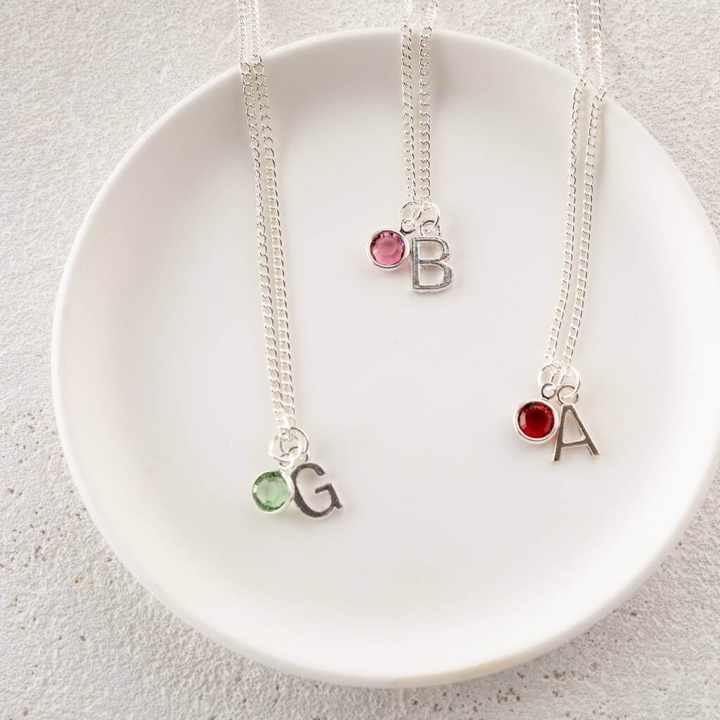 Personalised Eid Birthstone And Initial Necklace
