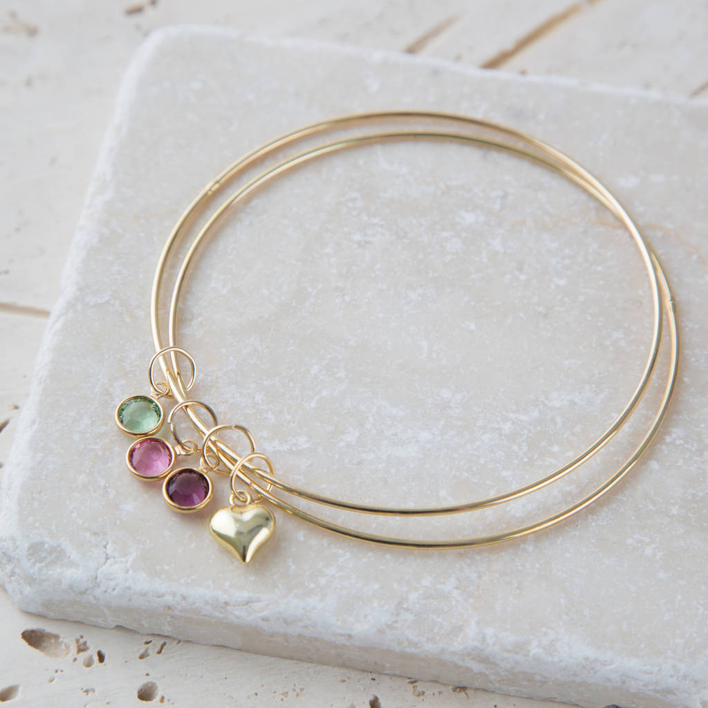 Personalised Gold Swarovski Birthstone And Heart Bangle