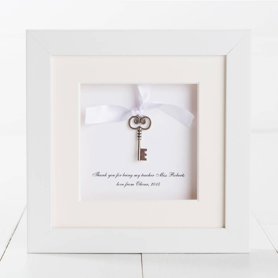 Personalised Key Charm Thank You Teacher Box Frame