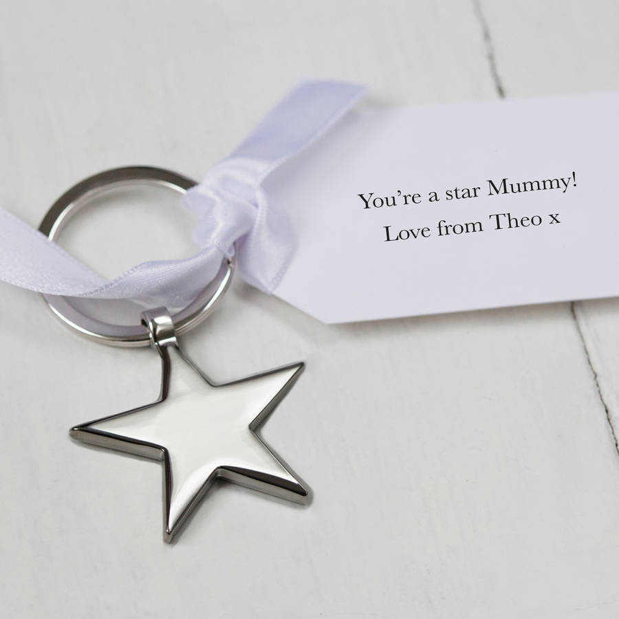 Personalised Mother's Day Star Keyring And Tag