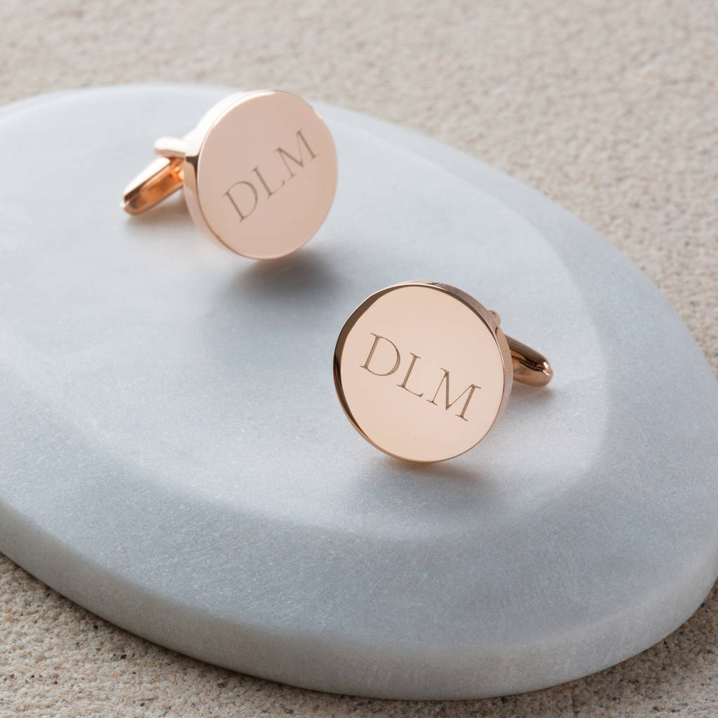 Personalised Rose Gold Initial Cufflinks