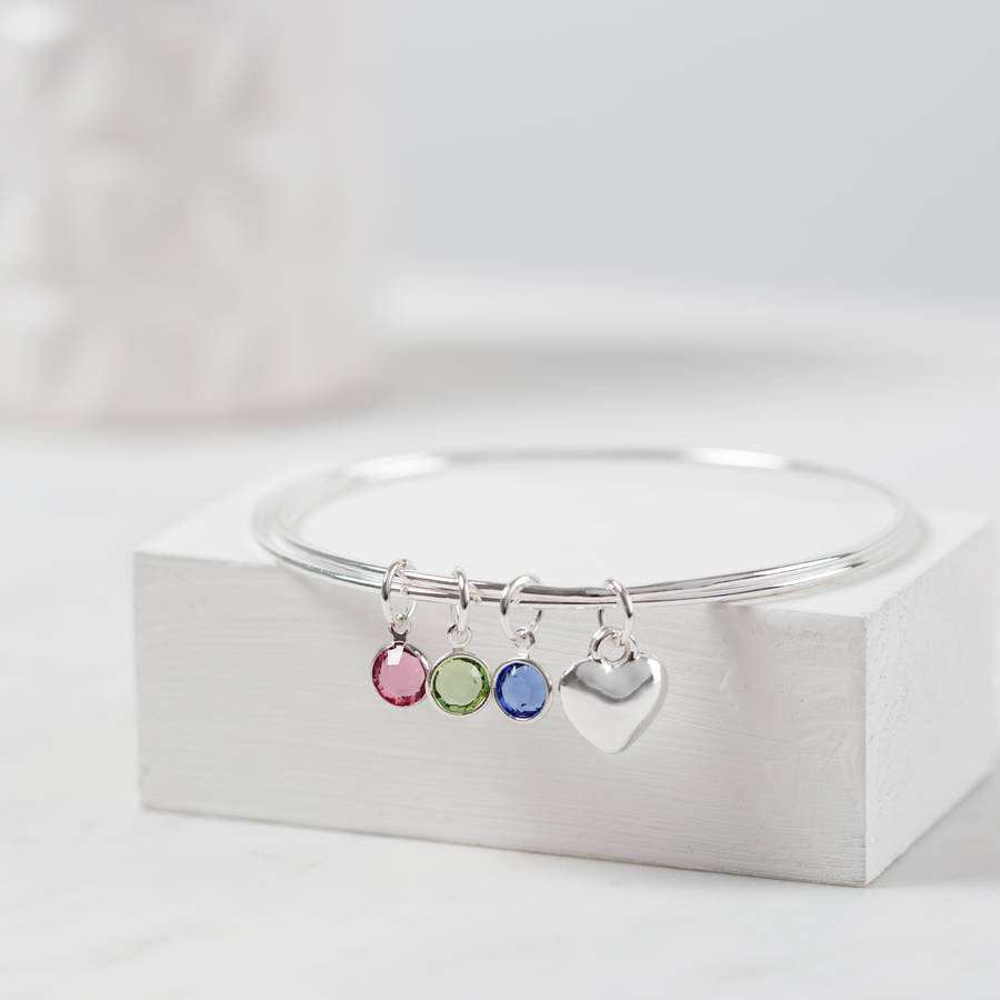 Personalised Swarovski Birthstone And Heart Bangle