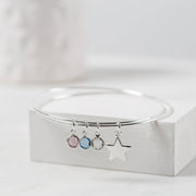 Personalised Swarovski Birthstone And Star Bangle