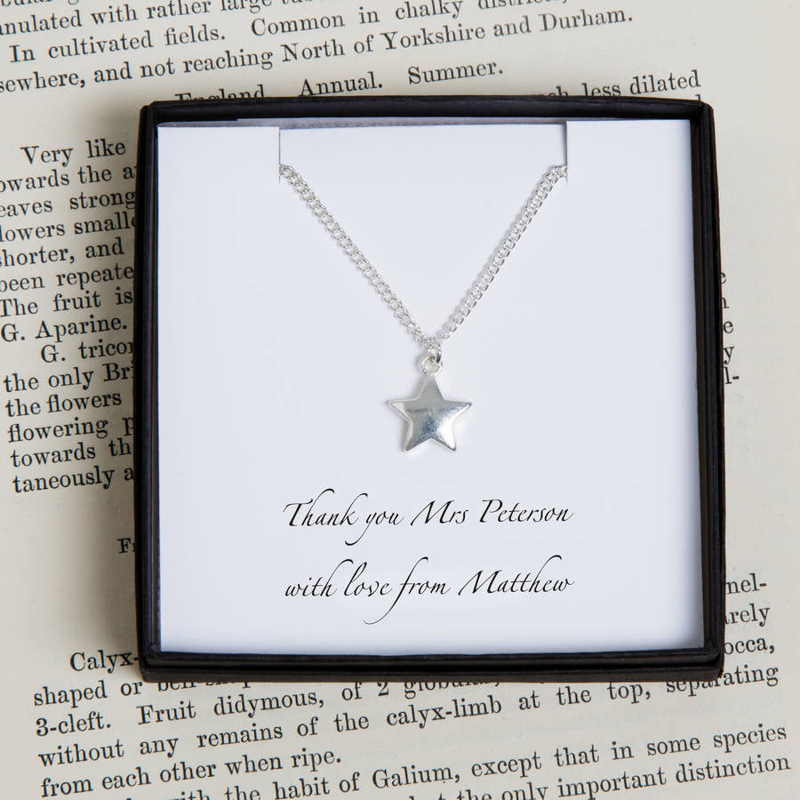 Personalised Teacher Silver Star Necklace