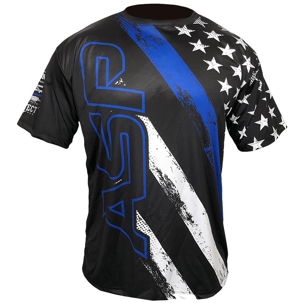 ASP Blue Line Duty Honor Courage Short Sleeve