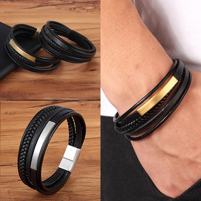 Golden Expression Leather Bracelet