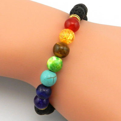 The Seven Chakra with Lava Stone Bracelet