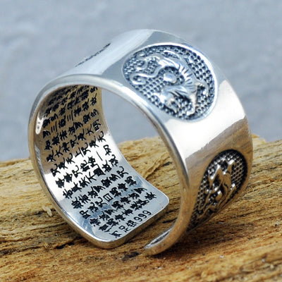 Pure Silver Sutra Dragon Ring