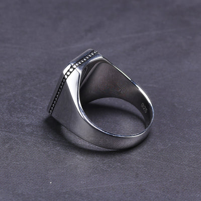 Imitated Black Stone Ring - Solid Silver
