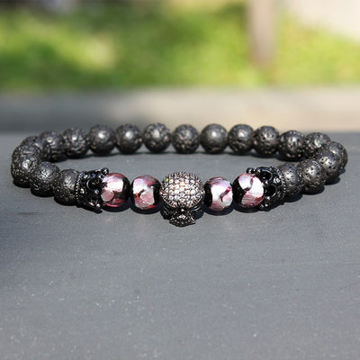 Natural Beads Strand Bracelet Trendy Brand Micro Pave CZ Skeleton Skull Black Lava Rock Stione . The Buddha Jewelry Stone Energy