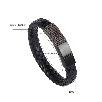 Hand-Knitted Leather Bracelet