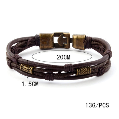 Mossovy European Style Leather Layered Bracelet Mens Minimalist Jewellery Fashion Man Bracalet Accessories Bijoux
