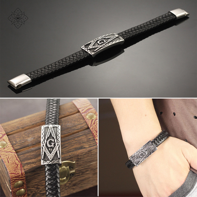 The Masonic Charm Leather Bracelet