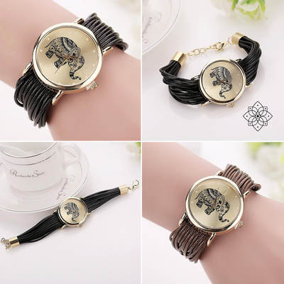 Brocade detailed Elephant Leather Watch