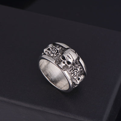 Halloween Silver Gothic Skull Ring