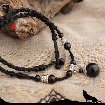 Handmade Natural Obsidian Necklace