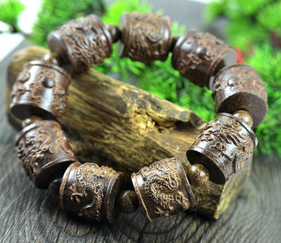 Padauk Wood Bracelet carved with Dragon
