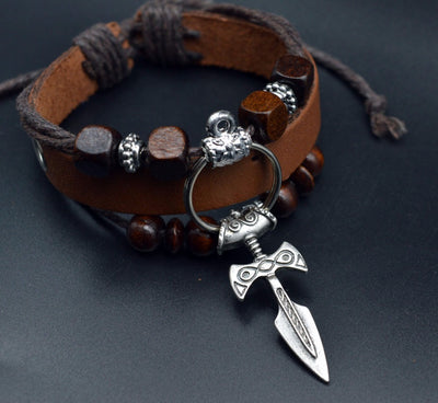 The Norse Viking Sword Leather bracelet