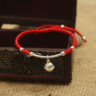 Lucky Red Rope Silver Bell Bracelet