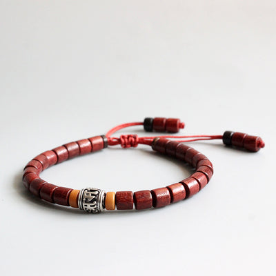 Wooden Bracelet with Buddhist Mantra Sign