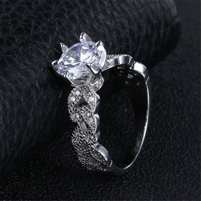 Zircon Crystal - Silver Leaf Ring