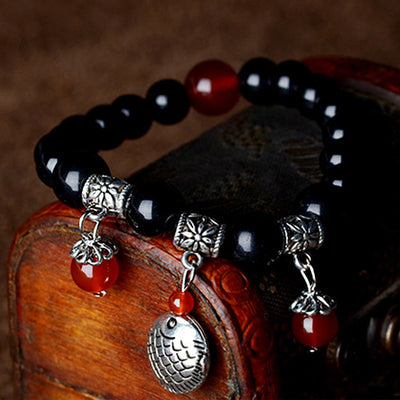 Ethnic Black Stone Bracelet with Fish Charm