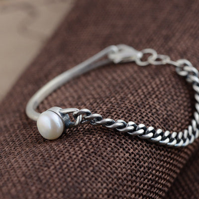 Flawless Pearl and Silver Bracelet