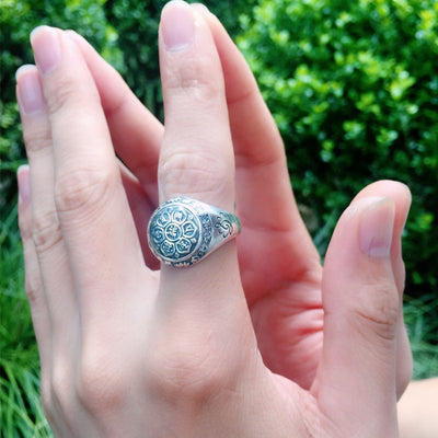 Silver Six Word Mantra Ring