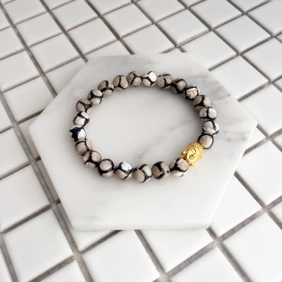 Natural Stone with Buddha Charm Bracelet