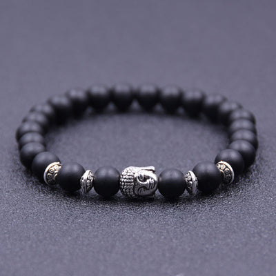 Matte Stone Bracelet with Buddha Head charm