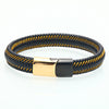 Golden Wave Leather Bracelet