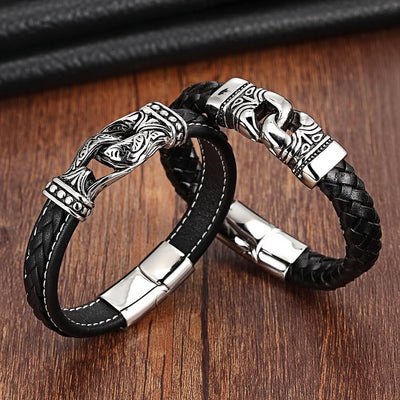 The Double Mask Leather Bracelet