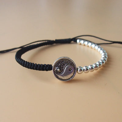 The Taijitu Silver and Rope bracelet