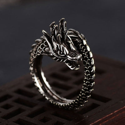 Silver Retro Dragon Ring