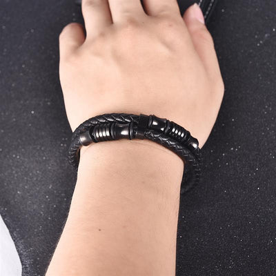 The Precisely Deep Black Leather bracelet