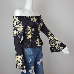 Women's Black off shoulder top with Bell Sleeve and Brown Floral Print