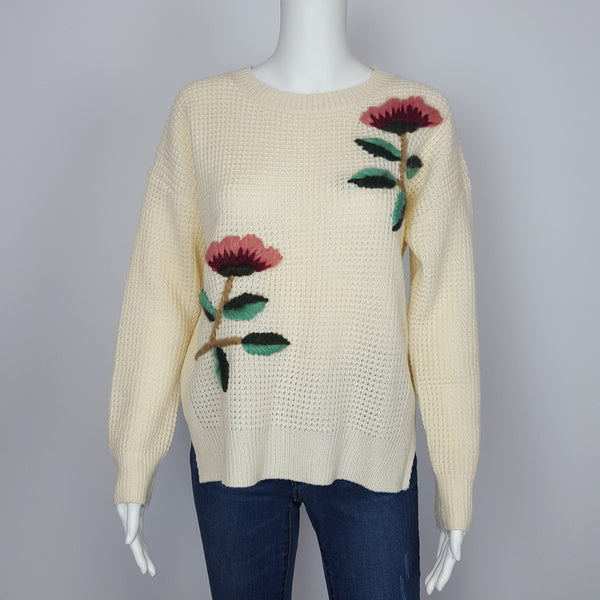 Tan knit Sweater Embroidery Girls Knit Top Pullover Sweater Springs Tan