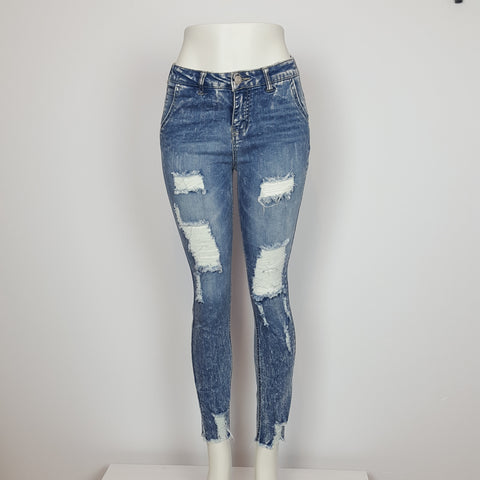Women's Distressed Pants With Elastic Waist Stone Wash
