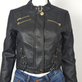 Vegan Leather Motto Black Jacket