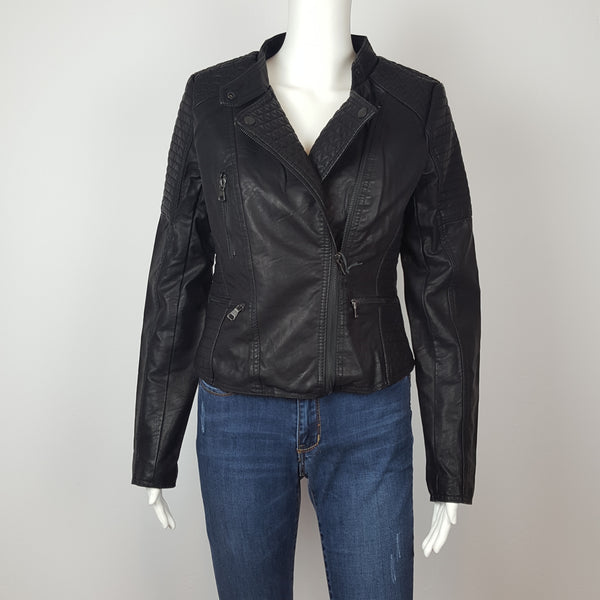 Cisono Vegan Leather Motto Jacket with Detailed Texture