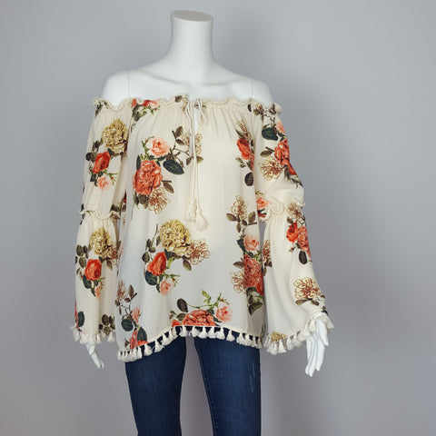 Summer Floral Print Off the Shoulder top bell sleeve